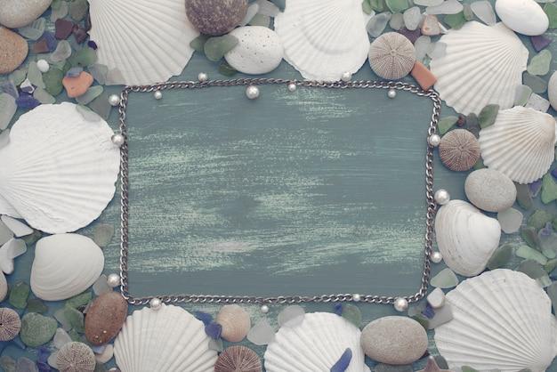 Fond de pierre coquille de mer rétro en bois naturel. Photo Premium