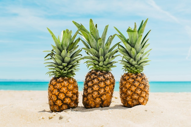 Fond De Plage Avec Des Ananas Photo gratuit