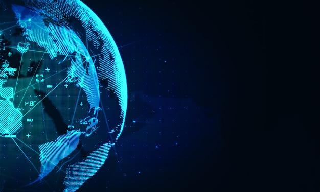 Fond de réseau mondial de cyber. technologie mondiale des affaires Photo Premium