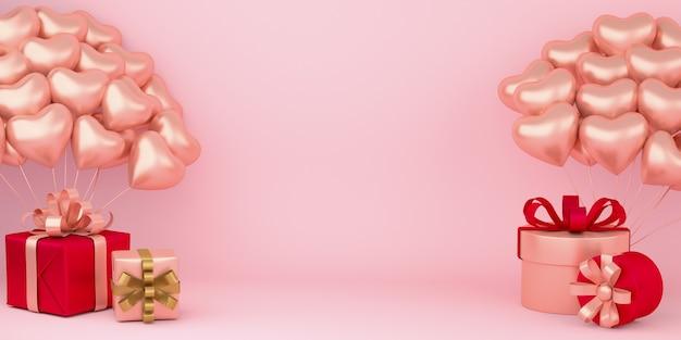 Fond De Saint Valentin Heureux Réaliste Avec Des Coffrets Cadeaux Et Des Décorations De Ballons En Forme De Coeur Photo Premium