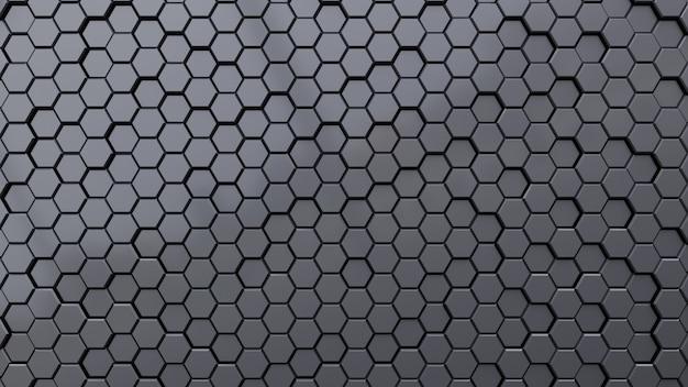 Fond sombre abstrait géométrique hexagone. Photo Premium