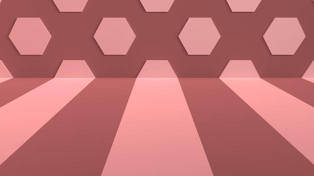 Fond de studio avec des rayures sur le sol et des hexagones sur le mur Photo Premium
