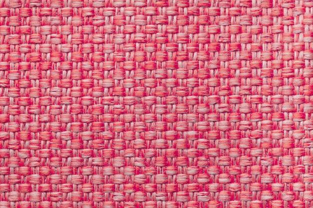 Fond textile rouge avec damier, gros plan. structure de la macro de structure. Photo Premium