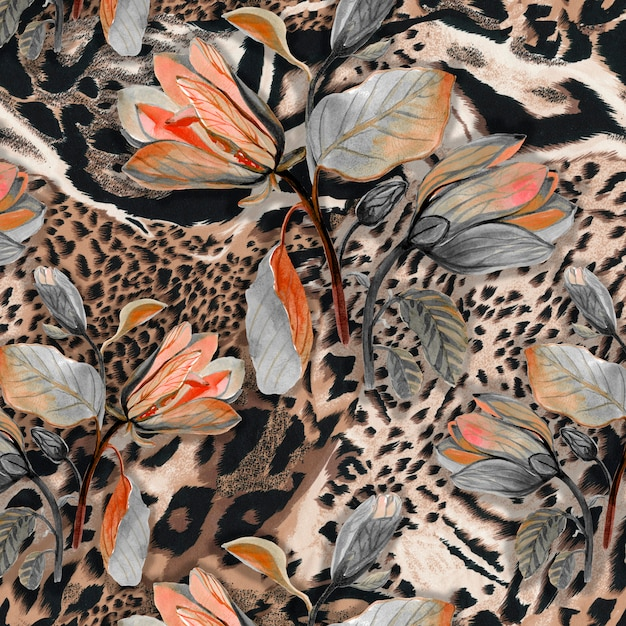 Fond de textile sans couture de peau d'animal africain sauvage avec des fleurs de browm Photo Premium