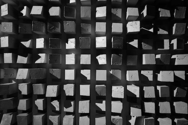 Fond de texture des carrés abstraits noir et blanc Photo Premium