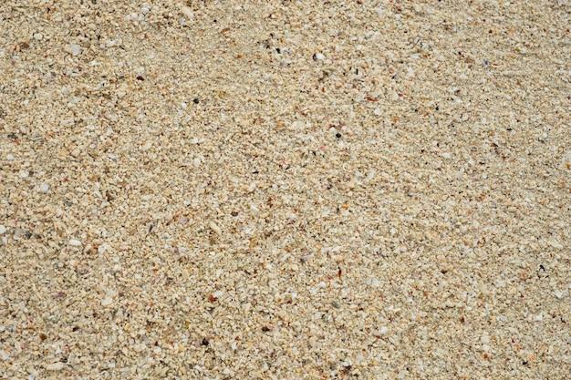 Fond de texture de sable, petites coquilles corail brisé, sable naturel à la plage se bouchent. Photo Premium