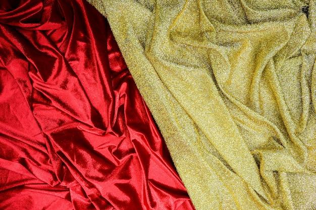 Fond De Texture De Tissu Or Et Rouge Photo Premium