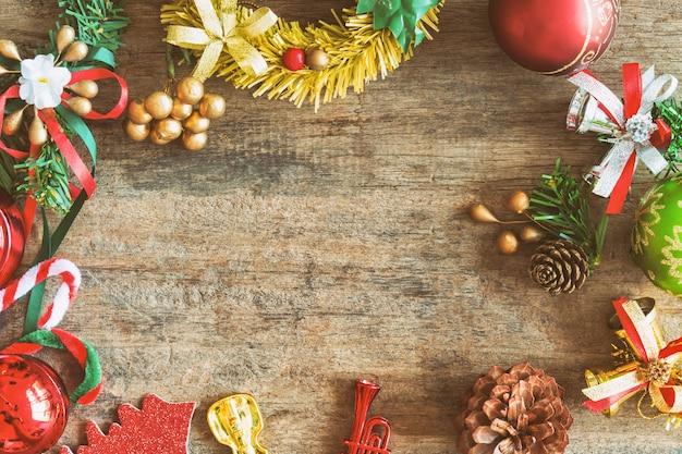 Fond De Thème De Noël Dans Ton Vintage. Fond En Bois Rustique Pour Noël Photo Premium
