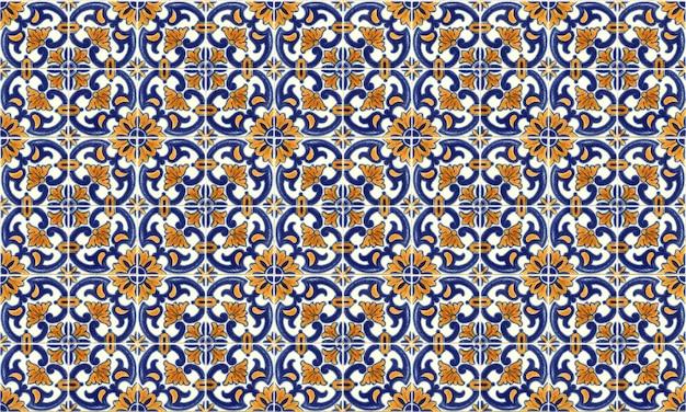 Fond de tuile azulejo sans couture portugal ou espagne Photo Premium