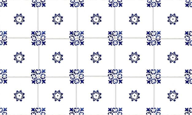 Fond de tuile azulejo sans soudure portugal ou espagne. haute résolution. Photo Premium