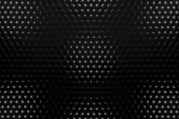 Fond Volumétrique De Rendu 3d à Partir D'hexagones Noirs. Abstrait Noir. Photo Premium
