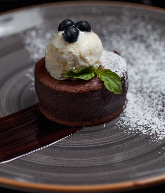 Fondue au chocolat avec boule de glace et baies forestières sur le dessus Photo gratuit