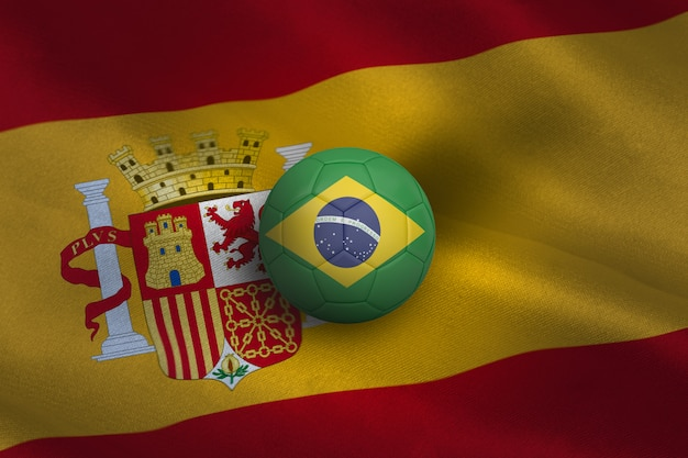 Football aux couleurs du brésil Photo Premium