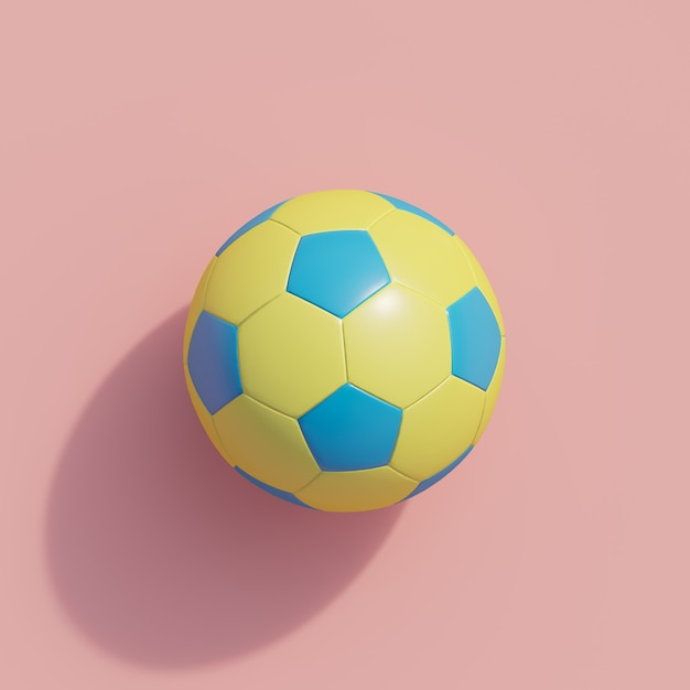 Football jaune sur rose Photo Premium