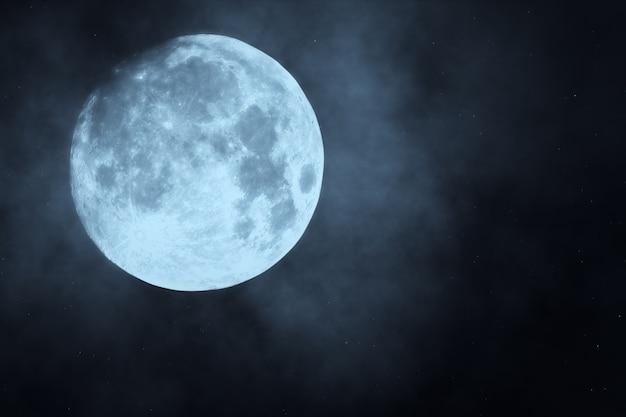 Forêt De Nuit Sombre Contre L'illustration 3d De La Pleine Lune Photo Premium