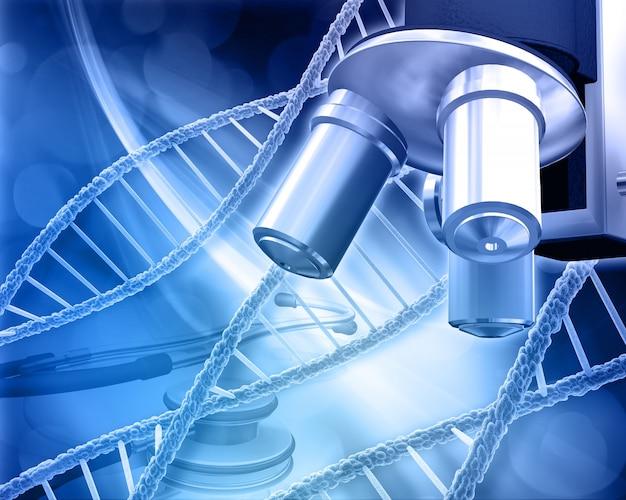 Formation médicale abstraite avec brins d'adn microscope et stéthoscope Photo gratuit