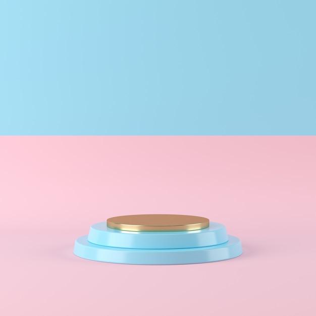 Forme de géométrie abstraite de couleur bleue sur fond bicolore, podium minimal pour le produit, rendu 3d Photo Premium