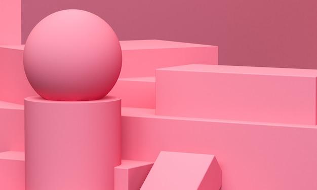 Forme géométrique rose géométrique primitive. abstrait minimaliste, rendu 3d. Photo Premium