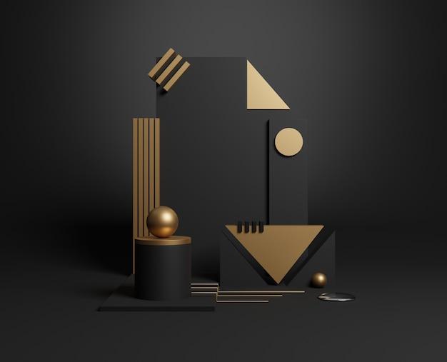 Formes Géométriques Minimales En Or Et Noir 3d. Illustration 3d. Photo Premium