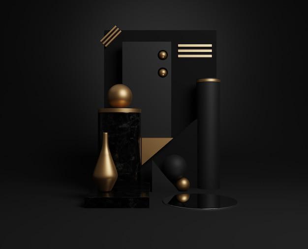 Formes Géométriques Minimales En Or Et Noir 3d. Photo Premium