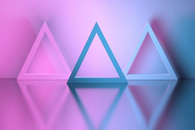 Formes triangulaires dans une pièce sur la surface réfléchissante d'un miroir Photo Premium