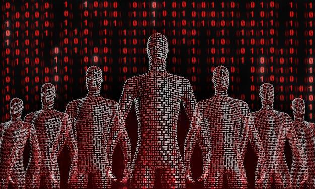 Foule De Gens Numériques Qui Marchent. Le Concept De La Symbiose De L'homme Et De La Technologie. Intégration Informatique Chez L'homme. Rendu 3d Photo Premium