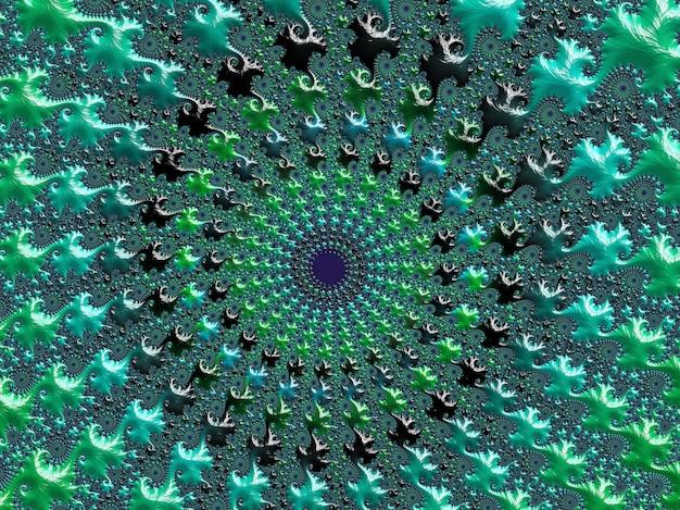 Fractale spirale texturé abstrait vert et turquoise. Photo Premium