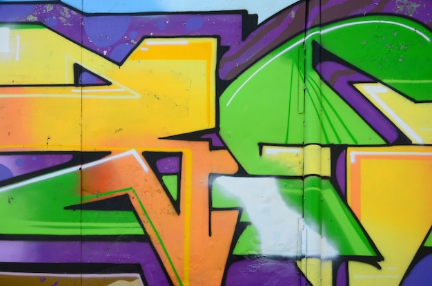 Fragment de dessins de graffitis. Photo Premium