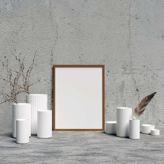 Frame mockup avec des vases de décoration d'intérieur blancs Photo Premium