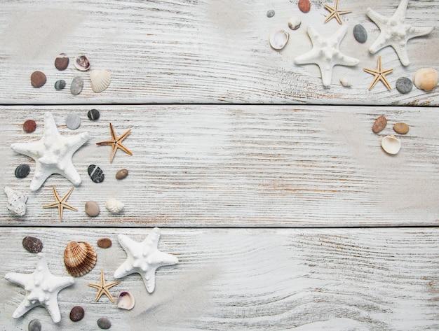 Frontière De Coquillages Et étoiles De Mer Photo Premium