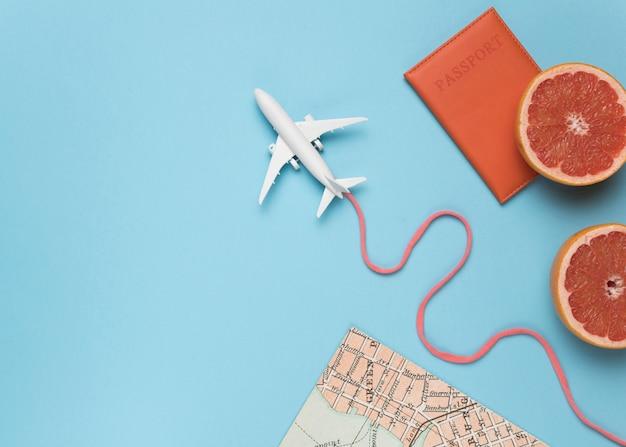 Fruit, cartes et petit avion Photo gratuit