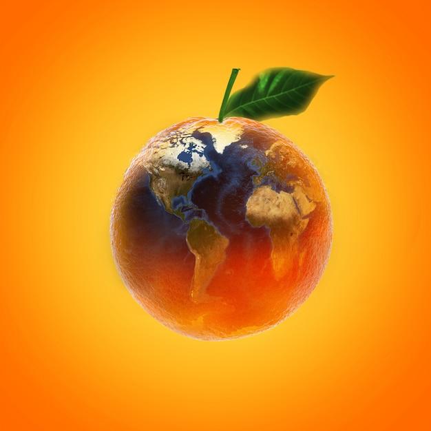 Fruits orange mûrs avec source d'images de la carte du monde de la nasa Photo Premium