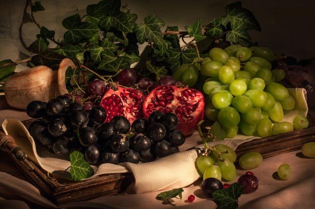 Fruits Sur Plateau Vintage Photo Premium