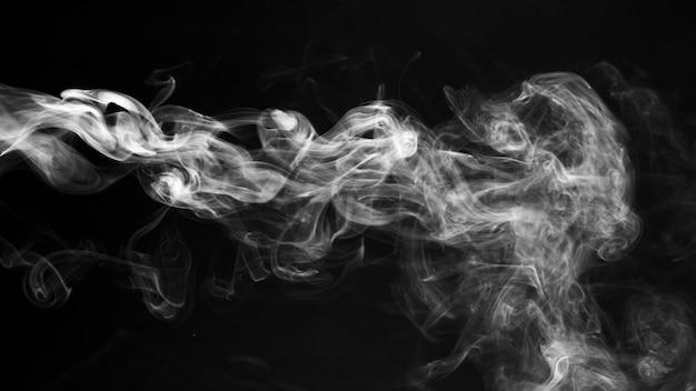 Fumée Blanche Texture Transparente Fond Noir Photo Premium