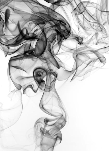 Fumée Noire Sur Fond Blanc. Feu Photo Premium