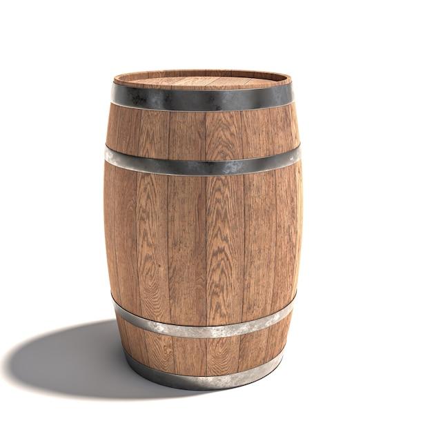 Fûts En Bois Pour Le Vieillissement Du Vin Sur Un Blanc. Photo Premium
