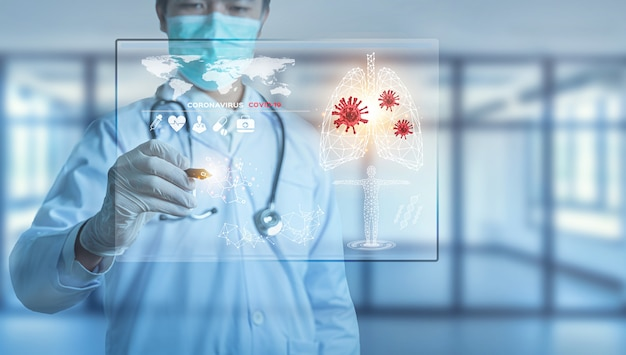 Futuriste Innovant Corona Covid-19 Virus Doctor Wear Mask Virtual Digital Ai Infographic Data Tech Photo Premium