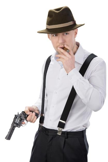 Gangster avec des fusils isolé sur blanc Photo Premium