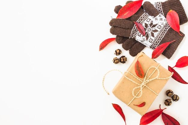 Gants et feuilles près du cadeau Photo gratuit