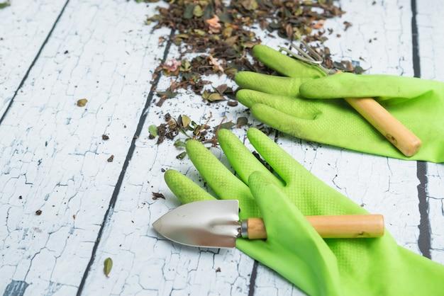 Gants de jardinage verts et outils pour la transplantation de plantes sur un fond en bois blanc Photo Premium