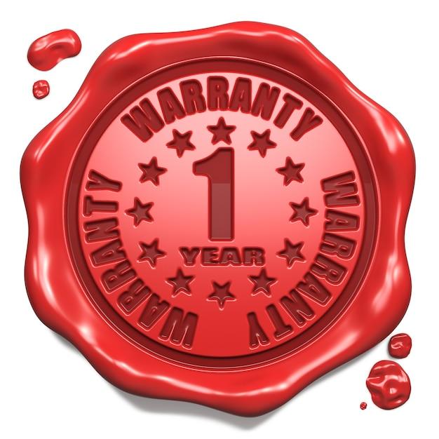 Garantie 1 An - Tampon Sur Sceau De Cire Rouge Isolé Sur Blanc. Concept D'entreprise. Rendu 3d. Photo Premium