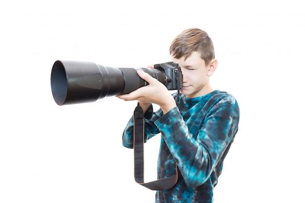 Garçon avec caméra Photo Premium