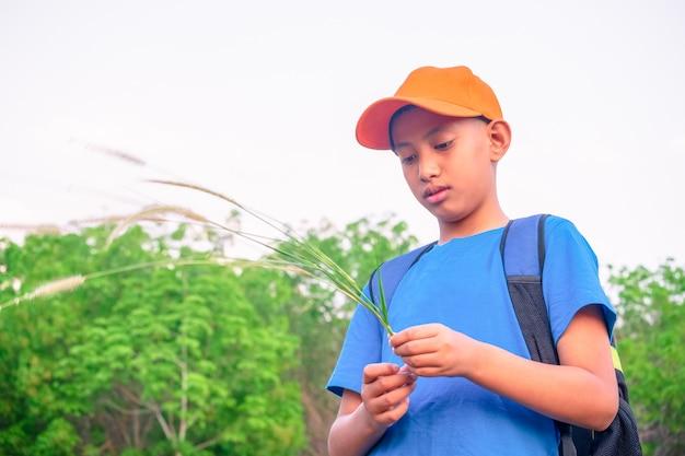 Garçon dans la forêt verte jouant exporing et adventure concept Photo Premium