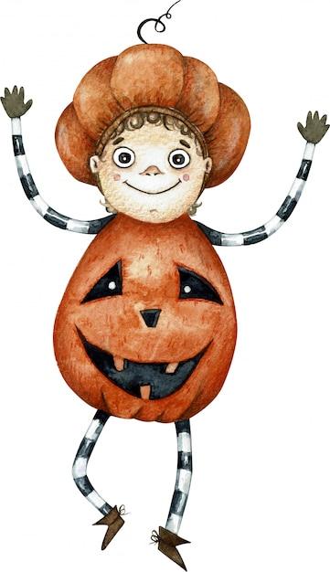 Garçon mignon dessin animé aquarelle dansant dans un costume de citrouille orange Photo Premium