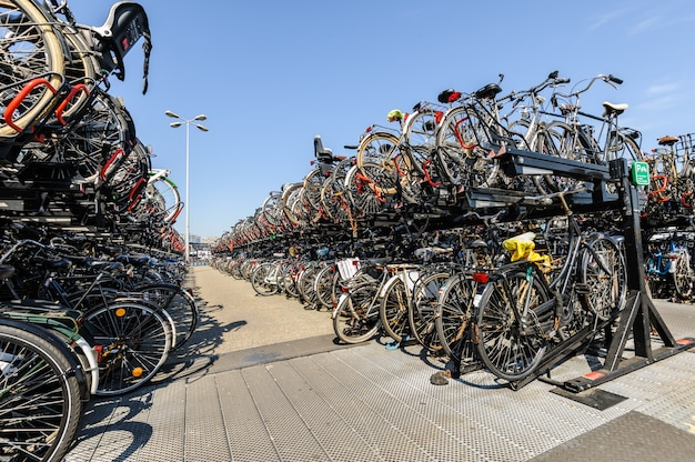 Gare centrale d'amsterdam. beaucoup de vélos garés devant la gare centrale Photo Premium
