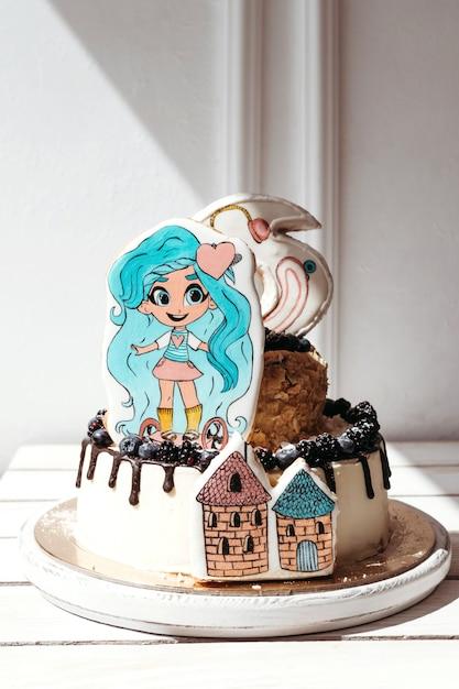 Gâteau d'anniversaire brhairdorables pour les filles Photo Premium