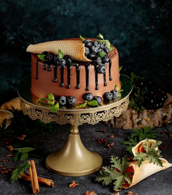 Gâteau Au Chocolat Avec Des Baies Et Des Gaufres Croustillantes Photo gratuit