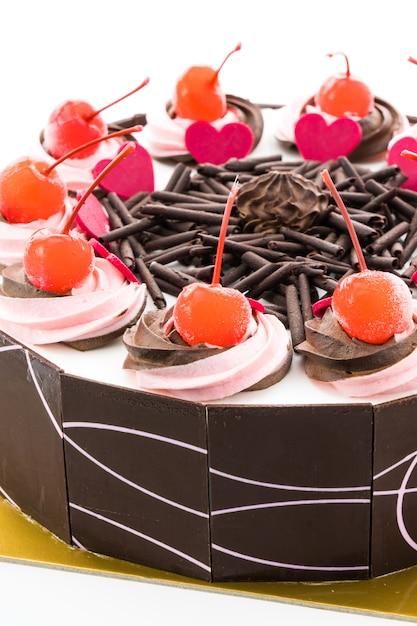 Gâteau au chocolat avec cerise sur le dessus Photo gratuit