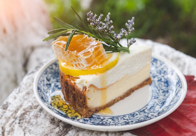 Gâteau Au Fromage Au Miel Avec Garniture De Ruche. Photo Premium