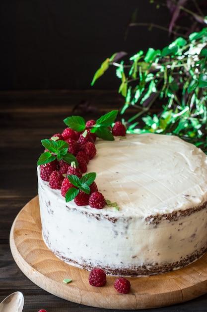 Gâteau aux fruits. gâteau aux framboises au chocolat. gateau au chocolat. décor à la menthe. cheesecake. Photo Premium